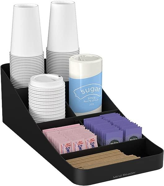 Mind Reader COMP7 BLK 7 Compartment Coffee Condiment Cups Lids Sugars And Stirrers Storage Organizer Black