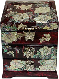 Mother of Pearl Butterfly Flower Red Lacquer Wood Drawer Jewelry Trinket Keepsake Treasure Chest Box