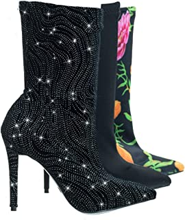Pointed Toe Dress Pump w Elastic Ankle Bootie in Floral & Glitter