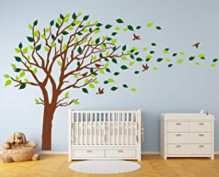 LUCKKYY Tree Wall Stickers Tree Wall Decal Forest Mural Tree Blowing in The Wind Tree Wall Decals Wall Sticker Nursery Decals (Brown)