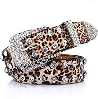 Women's Comfortable Belt Women's Belt Female Rhinestone Inlaid Leopard Belt Women's Belt Full Rhinestone Wide Belt for Tights Leggings Jeans Uniforms