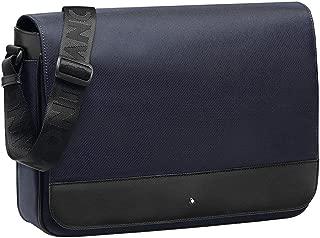 MONTBLANC NIGHTFLIGHT MESSENGER SHOULDER BAG BLUE BLACK LEATHER & CANVAS 116783