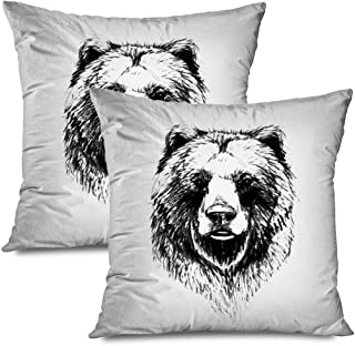 Ahawoso Set of 2 Throw Pillow Covers Square 20x20 Beast Beard Bear Grizzly Pattern Line Animals Style Face Wildlife Sketch Textures Power Nose Big Zippered Pillowcases Home Decor Cushion Cases