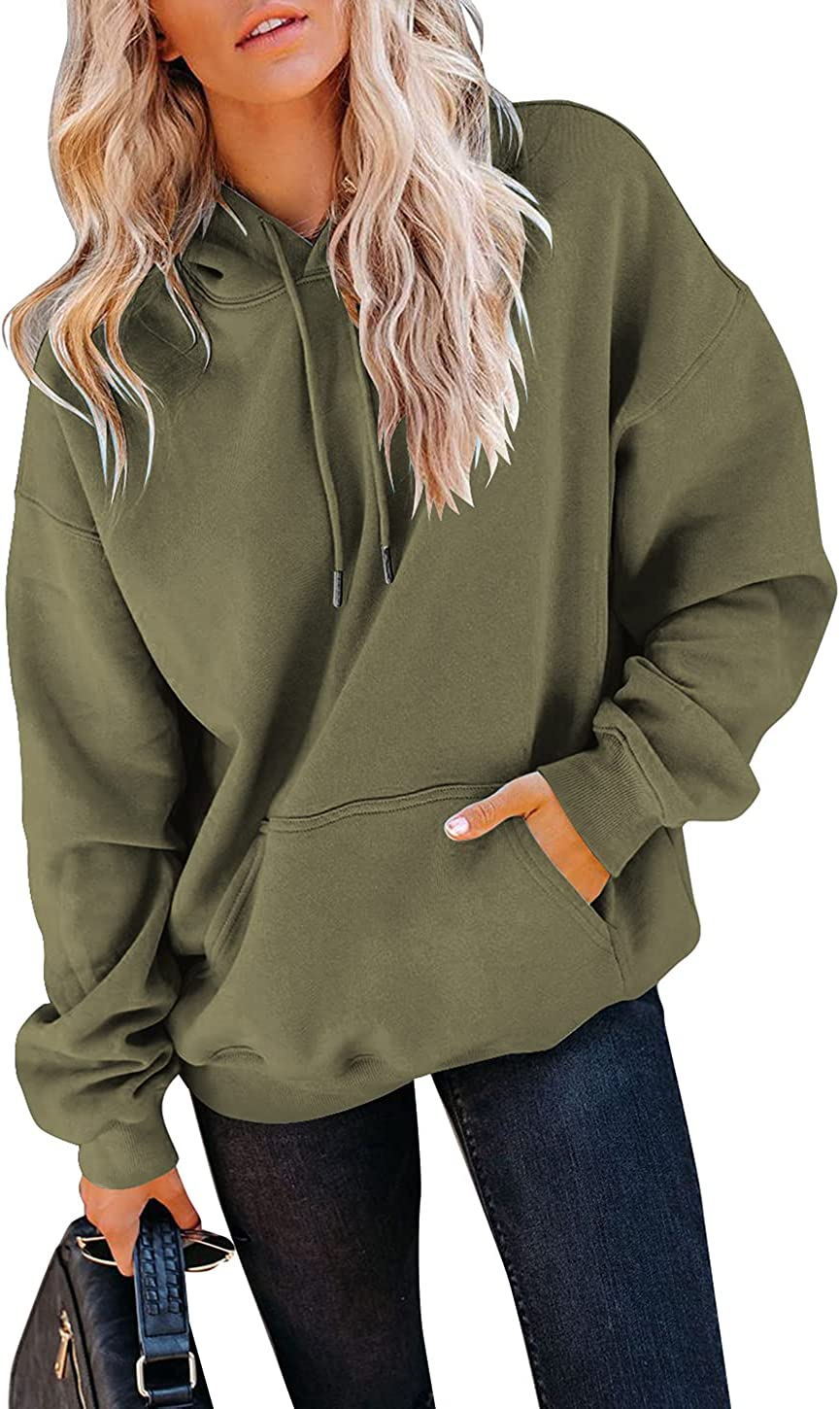 Yuccalley Women's Casual Hoodies Loose Long Sleeve Pullover Tops Hooded Sweatshirt with Pocket