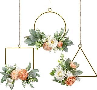 Pauwer Floral Hoop Wreath Set of 3 Metal Ring Hoop Wreath Artificial Flowers and Eucalyptus Leaves Garland Hanging Wall Ho...