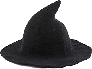 Edoneery Halloween Witch Hat for Women Wide Brim Foldable Pointed Cap for Halloween Party Costume Accessory Black