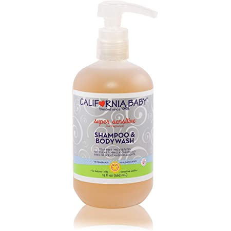 California Baby Super Sensitive Shampoo and Body Wash - Hair, Face, and Body. Gentle, No Fragrance, Allergy Tested. Dry, Sensitive Skin, (19oz)