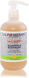 California Baby Super Sensitive Shampoo and Body Wash - Hair, Face, and Body. Gentle, No Fragrance , Allergy Tested. Dry, Sensitive Skin, 19 Ounces