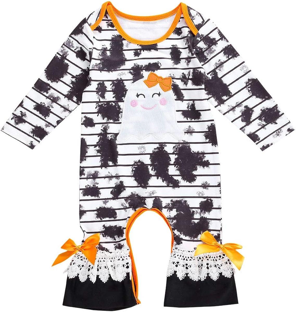 Newborn Baby Girl Halloween Jumpsuit Ghost Stripe Bodysuit Romper Tie Dye Clothes Halloween Outfit