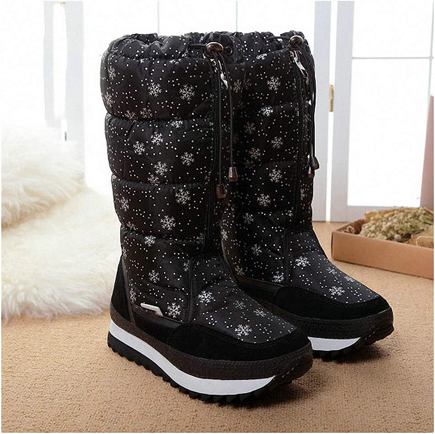 Womens Backpacking Boots Winter Boots High Women Snow Boots Plush Warm shoes Plus Size 35 to Big 42 Easy Wear Girl White Zip shoes Female Hot Boots