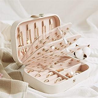 Shelf LWB Protable Cuero de la joyería de Almacenamiento Caja Pendientes del Anillo del Collar Jewel Case Embalaje de cosm...