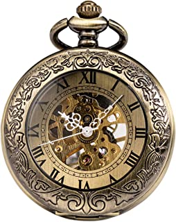 Mechanical Pocket Watch, for Men Women Special Magnifier Half Hunter Double Open Engraved Case Roman Numerals with Chain + Gift Box Bronze