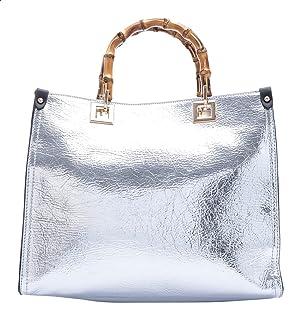 شنطة جلد صناعي بيد علوية خشب وحزام للكتف قابل للفصل للنساء من دالي درس - فضي
