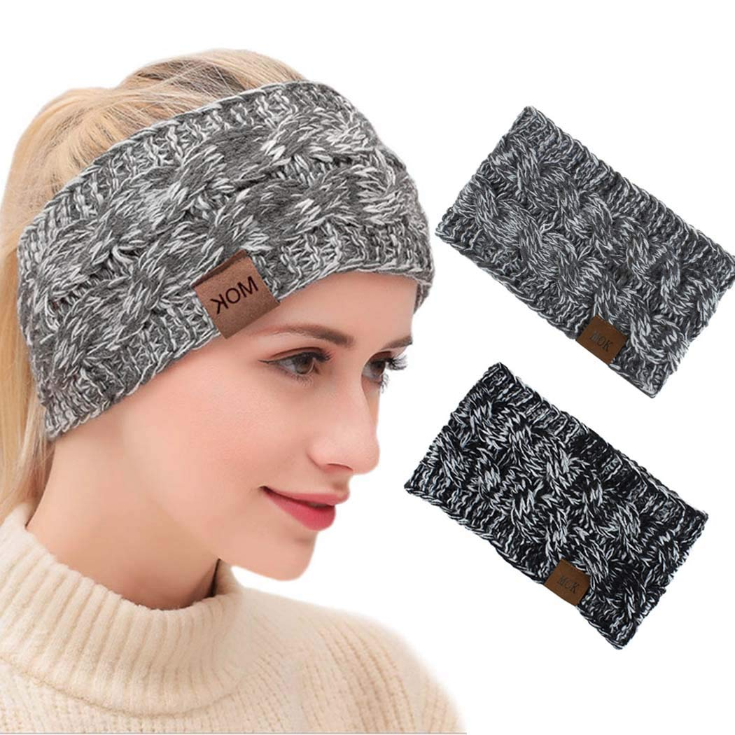 Edary Beanie Headband Fuzzy Winter Headwrap Cable Knitted Hair Bands Hair Accessory for Women and Girls. (Black White Mix & Gray White Mix)