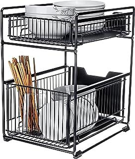 FDGSD Organisateurs d'armoires sous évier à 2 Niveaux Robustes Simple Gear avec tiroir de Rangement Coulissant, Panier à é...