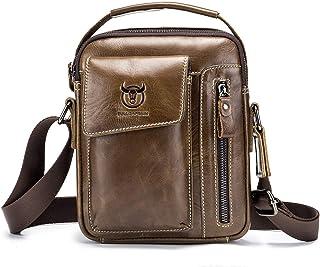 BULL CAPTAIN Mens Shoulder Bag Vintage Fashion Genuine Leather Cross Body Satchel Bag For Business Casual Travel Brown
