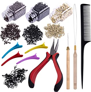 Duufin Hair Extensions Tools Kit 1500 Pcs Micro Ring Beads(Black, Blonde and Brown) 1 Micro Beads Plier 2 Hook Needle Pull...