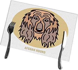 bneegxg Dining Table Placemats Set of 6 Portrait of Afghan Hound in Style Flat Heat-Resistant Placemats