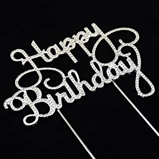 GRACE.Z Happy Birthday Rhinestone Cake Topper for Birthday Party Decorations