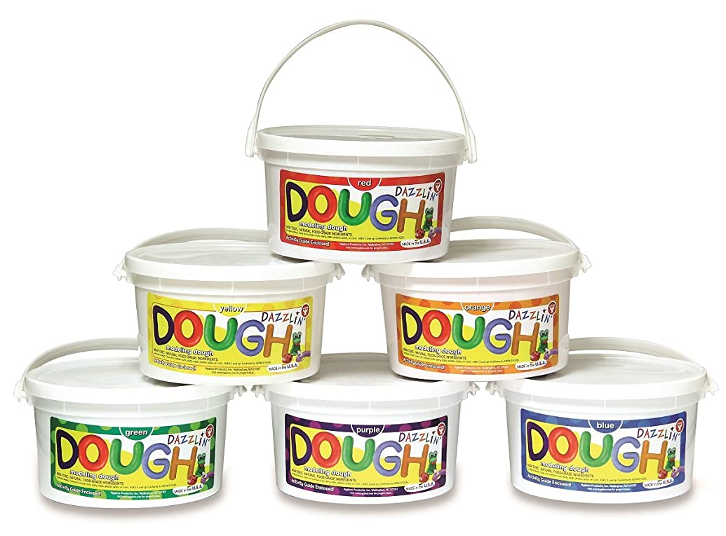 Hygloss Products, Inc Kids Unscented Dazzlin' Modeling Play Dough One of Each Color, 6 Pack, 3lb, 6 Asst'd