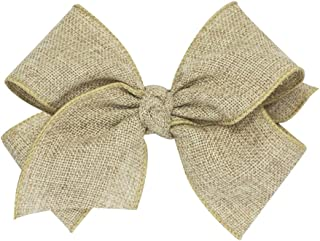 Wee Ones King Size Soft Burlap Hair Bow with a Knot Wrap on a WeeStay No Slip Clip