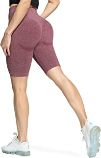 Aoxjox Women's High Waisted Tummy Control Workout Yoga Gym Simle Seamless Cycling Shorts