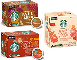 Starbucks Pumpkin Spice Coffee Fall Blend K Cups Variety Pack of 26 Pods - 10 Fall Blend Medium Roast Pods, 6 Pumpkin Spice Latte K-Cups, 10 Pumpkin Spice Flavored Ground Coffee   Limited Edition