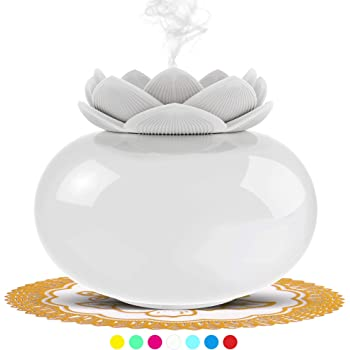Ceramic Cool Mist Humidifiers for Bedroom Office,SIXKIWI Cute Lotus Personal Air Humidifier,USB Small Air Freshener Auto Shut-off with 7 Colors LED Light(White)