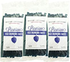 Blue Raspberry Licorice - 3 PACK - FAT FREE Old Fashioned Gourmet Licorice Twists - A Must Try Quality Licorice Candy with Unique Flavor Unlike Any Other - 1 1/2 pounds total