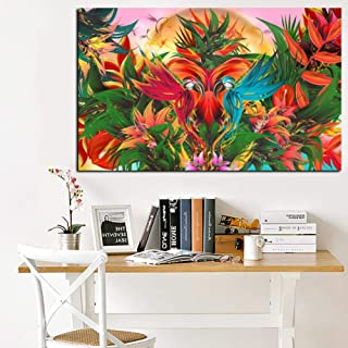 GUDOJK Decorative Paintings Print Tropical Jungle Flowering Bird of Paradise Abstract Oil Painting on Canvas Wall Art Picture Poster for Living Room cuadros-50x70cm