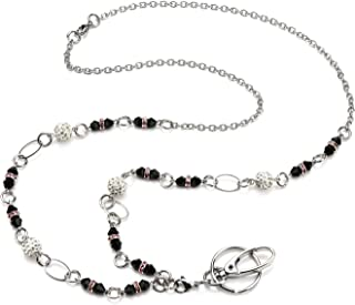 LUXIANDA Simple Design, Elegant ID Badge Holder Crystal and Durable Stainless Steel Chain Necklace Fashion Lanyard ID Badge Holder for Women, Teachers and Other Working Women (White+Black)