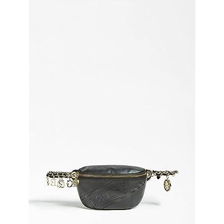 Guess pour femme Ceinture avec cha/îne et pendentifs Sac banane en cuir noir avec logo ajour/é poches int/érieures.