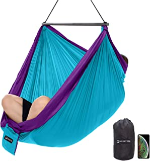 Travel Hanging Chair, Lightweight Hammock Chair, Collapsible One-Piece System, Super Compact and Portable, One Minute Setup, Extra Comfortable With Multiple Seating Positions (Light blue & purple)