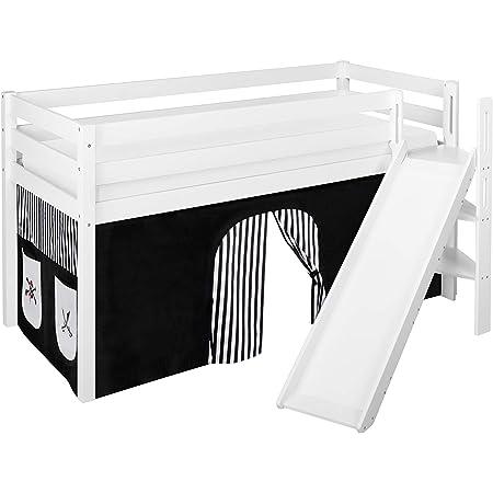 Lilokids JELLE Lit surélevé avec toboggan et rideau Noir/blanc