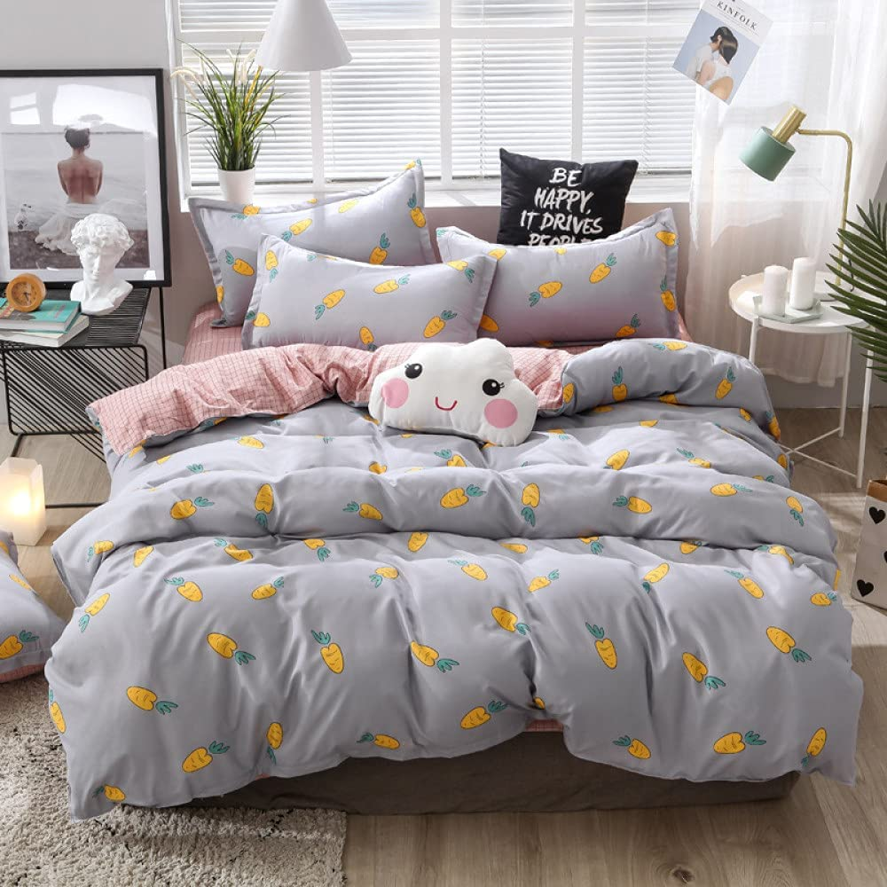 YJDCX Duvet Cover Full Size OFFicial site Limited time trial price Gray Double Carrot Beddin Cute Print