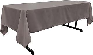 "LA Linen Polyester Poplin Rectangular Tablecloth, 60"" x 102"", Dark Grey"