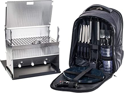 FENNEK Backpack Grill im Set, Picknick-Rucksack, Camping, Trekking, Wandern, Outdoor, mit Kühlfach und Zubehör für 4 Personen, Camping Grill B07954MH3Z | Berühmter Laden