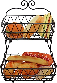 IZLIF Fruit Baskets 2 Tier Metal Bread Basket Storage Display Stand for Kitchen with Screws Free Design