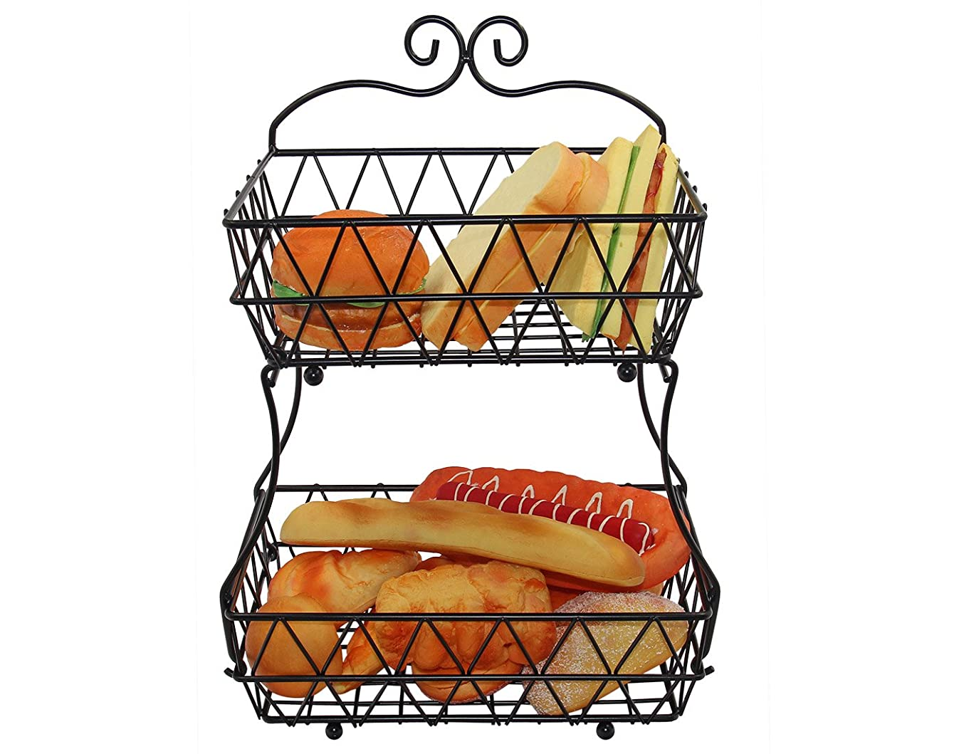 IZLIF Fruit Baskets 2 Tier Metal Bread Basket Storage Display Stand for Kitchen with Screws Free Design,Black