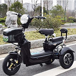 Green Energy Electric 3 Wheel Scooter Electric Tricycle, Single Double Outdoor Leisure 3 Wheel Bicycle, Suitable for Adult Elderly, 20A Lithium Battery,Black