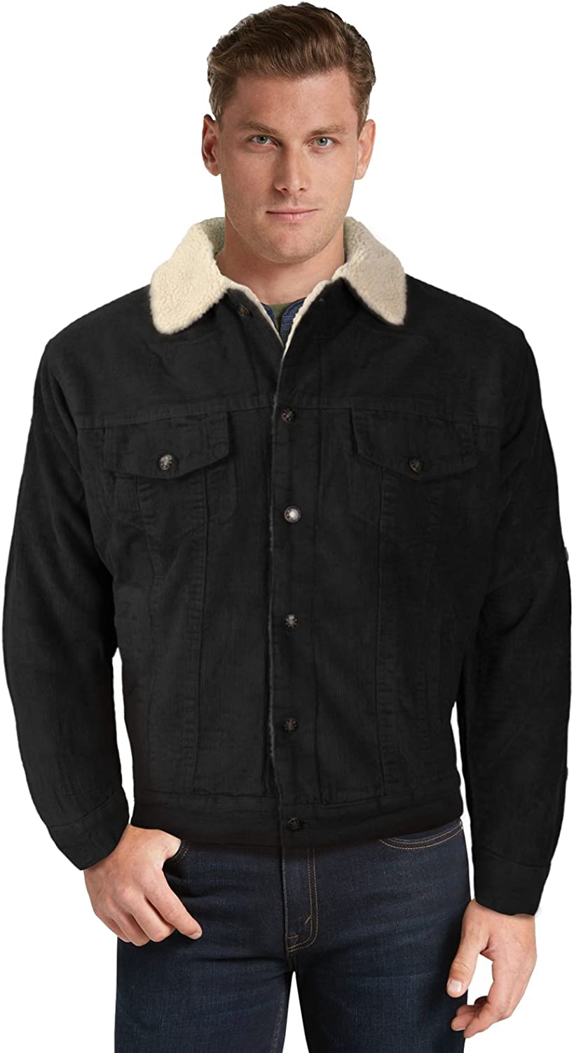 Mens Classic Button Up Fur Lined Corduroy Sherpa Trucker Jacket