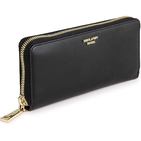 Berliner Bags Premium Geldbörse Lyon aus Leder mit RFID-Schutz, Portemonnaie für Damen - Schwarz/Gold