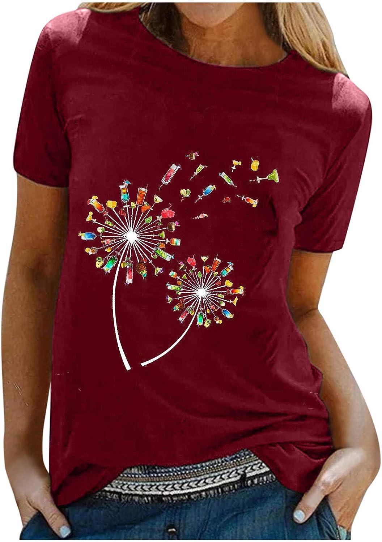 Forwelly Women Summer Shirt Short Sleeve O Neck Tee Shirt Dandelion Print Plus Size Top Blouse