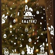 4 Hojas Pegatinas Decorativas Pascua para Ventanas Etiquetas Adhesivos Calcomanías Adorno Blanco Letras Conejitos Huevos M...