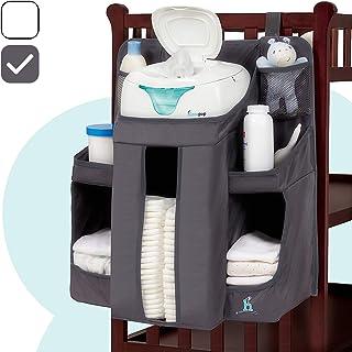 Organizador para el cuarto del bebé y contenedor de pañales Hiccapop   organizador de almacenamiento para las cosas esenciales y para colgar pañales  para colgar en la cuna, pared on en la mesa cambiador, Gris carbón
