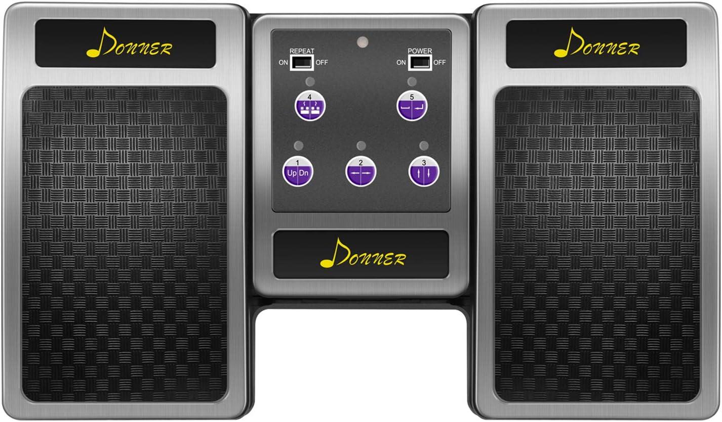 Donner Pedal P/ágina Bluetooth Recargable para Tablet iPad Plateado