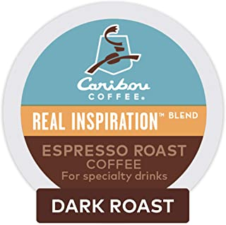 Caribou Coffee Real Inspirations Blend Espresso Roast, Single Serve Coffee K-Cup Pod, Flavored Coffee, 48 Count