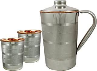 RoyaltyLane Copper Tumblers and Jug Set Drinkware Accessory for Ayurvedic Healing Outside Steel Inside Copper - Capacity 1.6 Liters