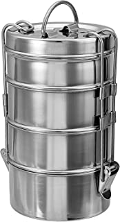 Stainless Steel Food storage container with 4 Tier for Food Organizer Steel Lunch Box, Traditional Indian Lunch Box, Bento Vintage Belly Tiffin Box, Tiffin box With Container Roller Lock