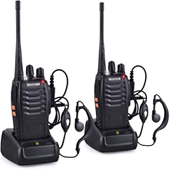 RENMAX BF-888S UHF 400-470 MHz CTCSS/DCS Amateur Radio 16Ch Long Range Walkie Talkie with Earpiece Black- 2Pack